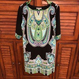 Sandra Darren Black & Green Size 12 Petite Dress